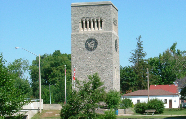 The Norfolk Carillon tower located in Simcoe Ontario.