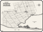 Retro style county map with historic hamlets