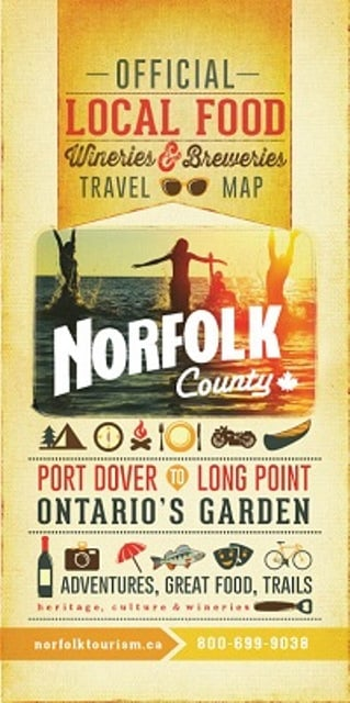 Norfolk County Official Local Food Wineries Breweries Travel Map 2014 Cover