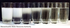 A series of images of a glass of water showing the water clearing from milky white to clear from the bottom up.