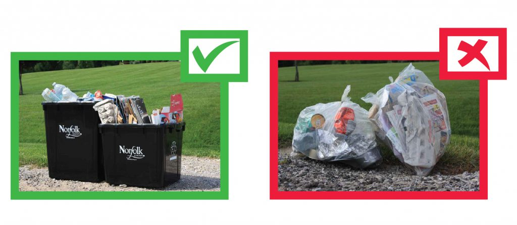 Image of how to properly recycle using the two sort system, versus the improper way of putting it in bags