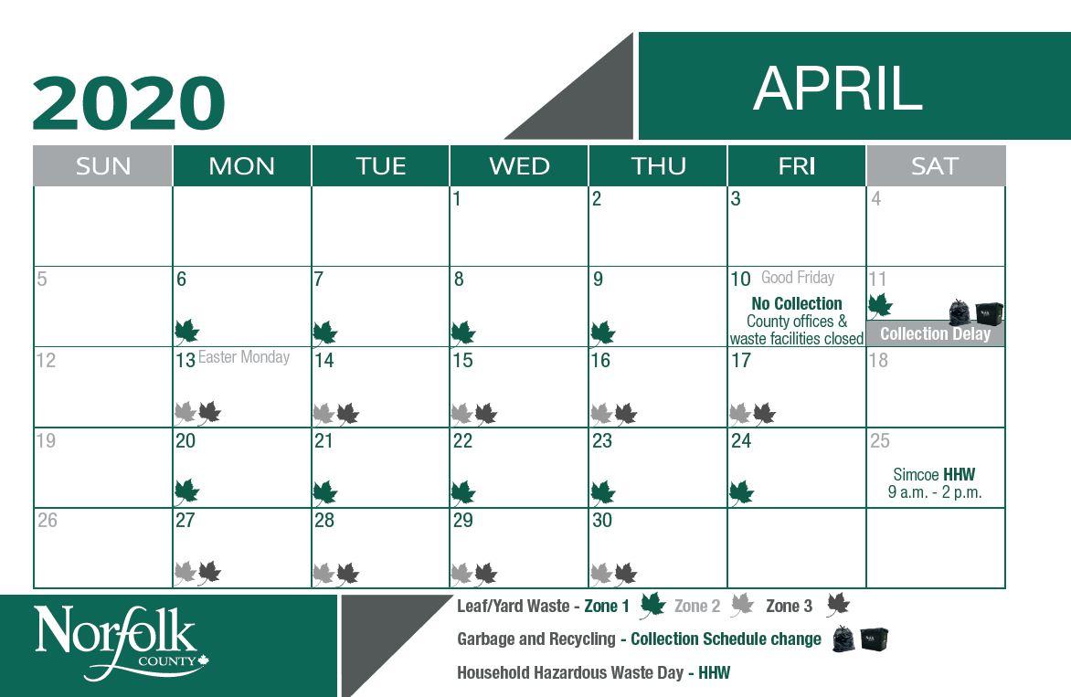 April waste calendar for leaf and yard pick up. Zone 1 is April 6 - 10 and 20 - 24. Zone 2 and 3 is April 13 - 17 and 27 - 30.