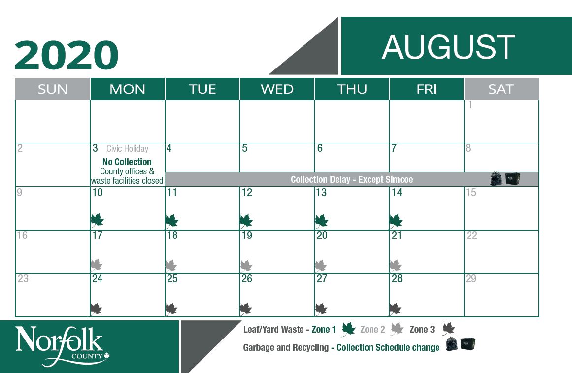 August waste calendar for leaf and yard pick up. Zone 1 is August 10 - 14. Zone 2 is August 17 - 21. Zone 3 is August 24 - 28.
