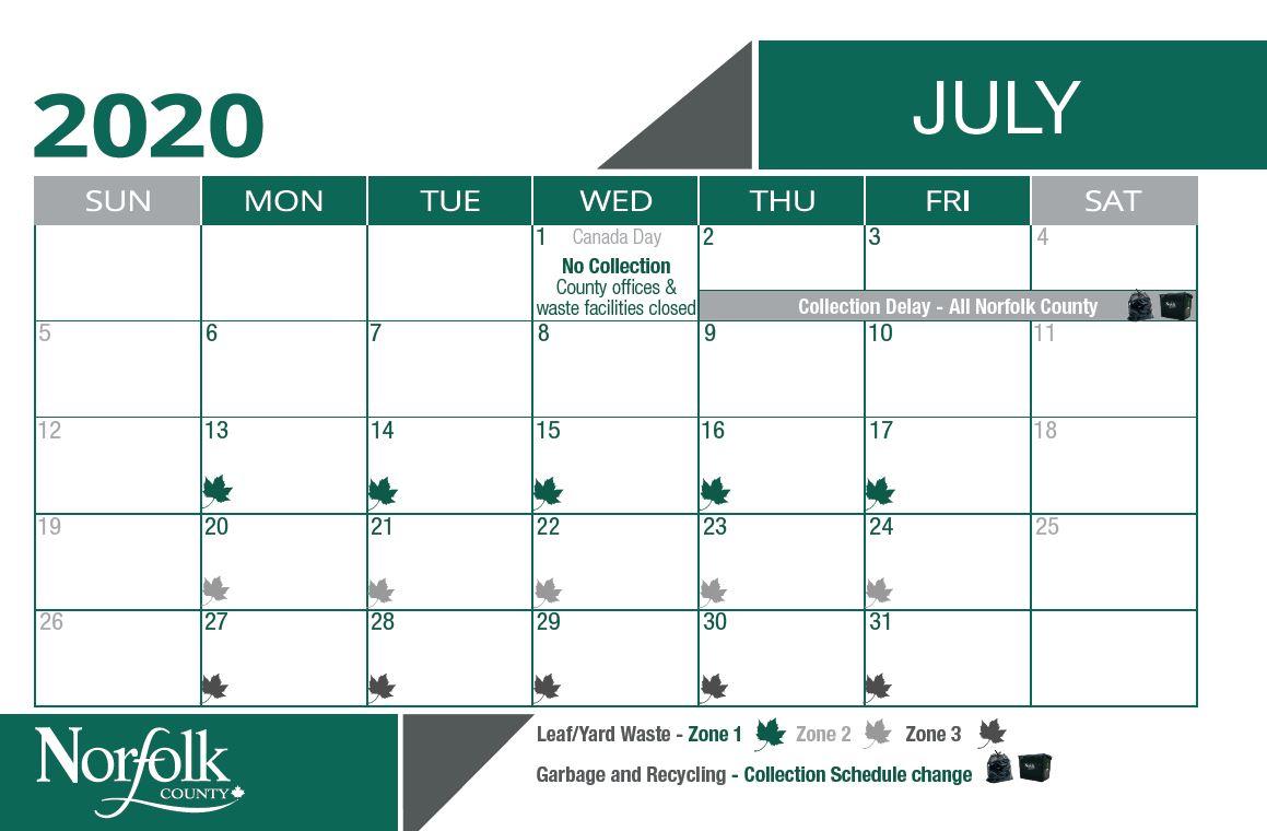 July waste calendar for leaf and yard pick up. Zone 1 is July 13-15. Zone 2 is July 20 - 24. Zone 3 is July 27 - 31.