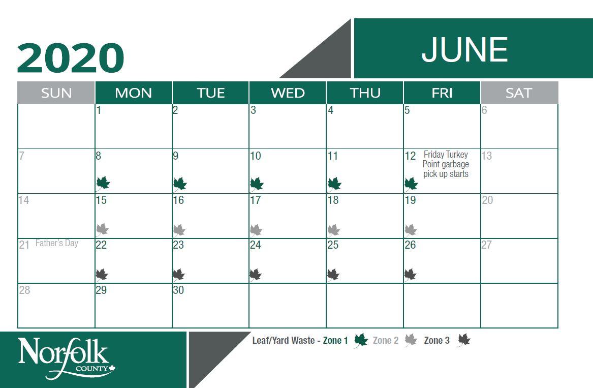 Waste calendar leaf and yard pick up for June. Zone 1 is June 8-12. Zone 2 is June 15-19. Zone 3 is June 22 - 26.