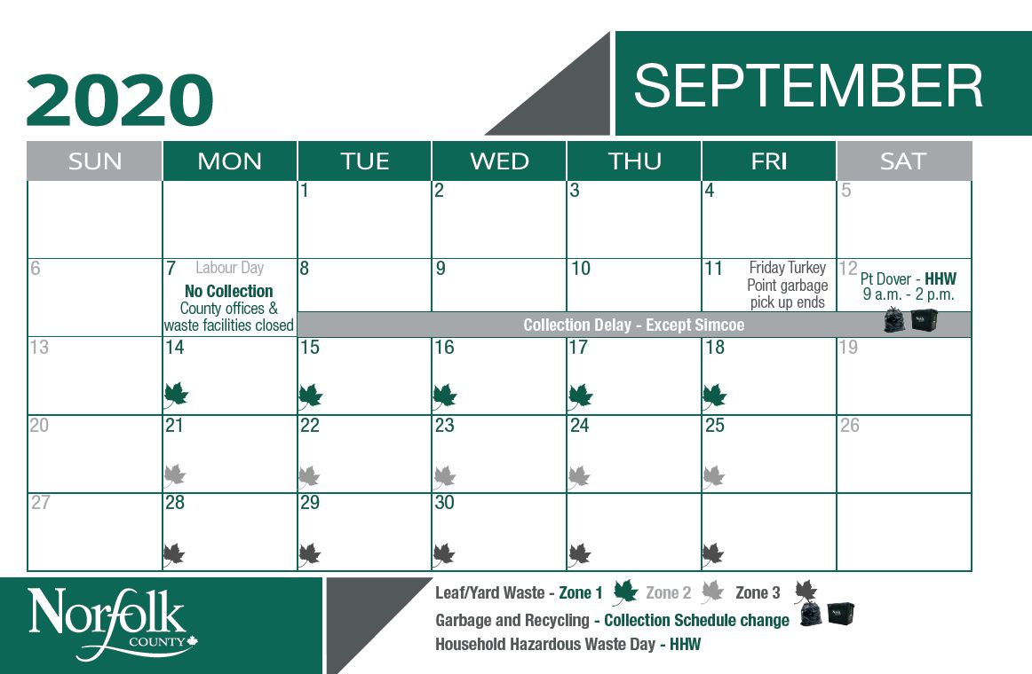 September waste calendar for leaf and yard pick up. Zone 1 is Sept. 14 - 18. Zone 2 is Sept. 21 - 25. Zone 3 is Sept. 28 - Oct. 2.