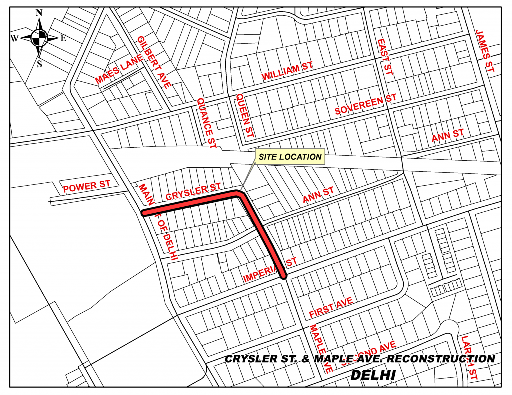 Map of Crysler St construction